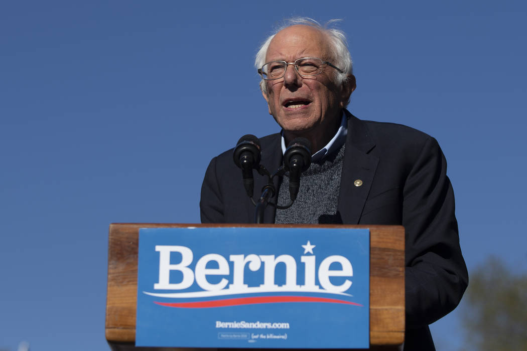 Democratic presidential candidate Sen. Bernie Sanders, I-Vt., speaks to supporters during a ral ...