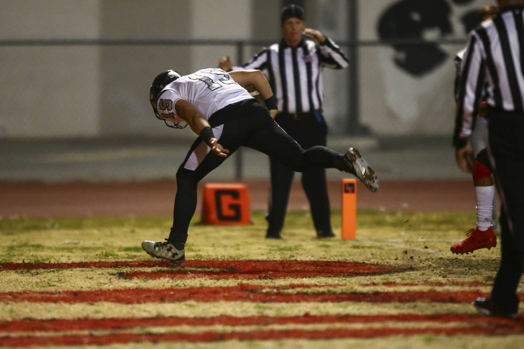 Palo Verde's Paul Myro (15) scores a touchdown against Las Vegas during the first half of a foo ...
