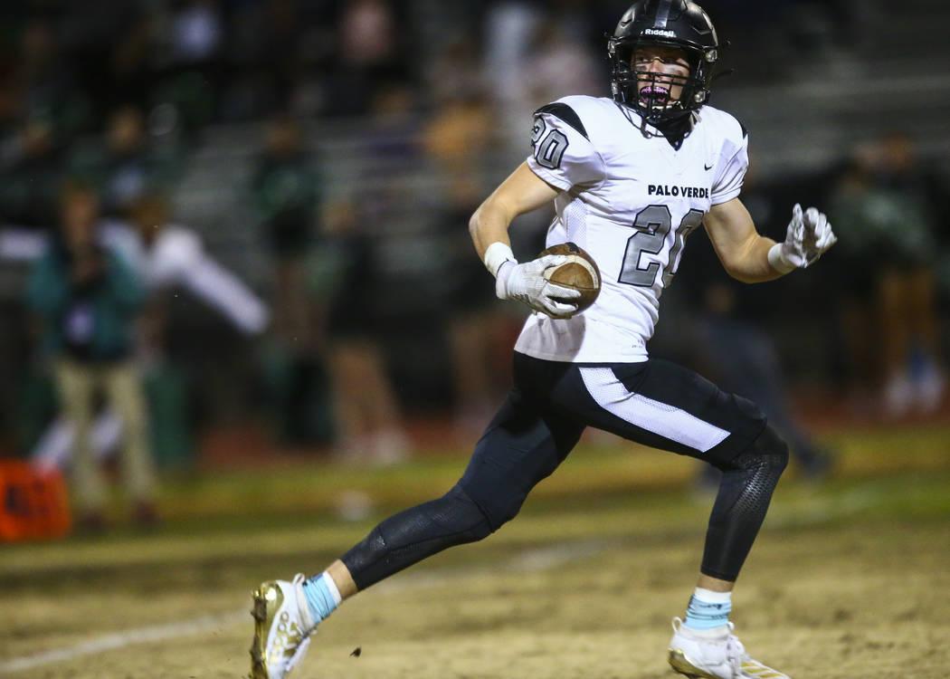 Palo Verde's Luca Mauriello (20) runs the ball to score a touchdown against Las Vegas during th ...