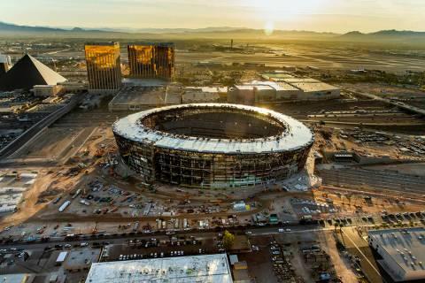 The Raiders Allegiant Stadium construction site on Wednesday, Oct. 16, 2019, in Las Vegas. (L.E ...