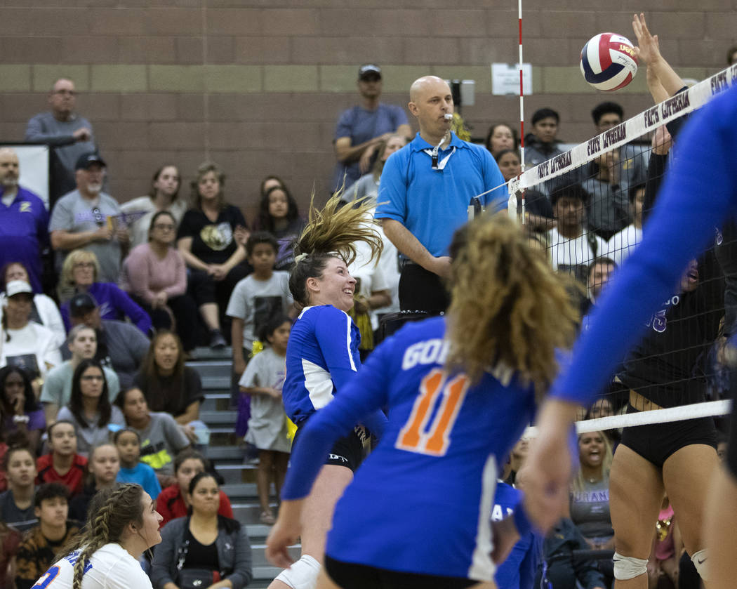 Bishop Gorman's Tommi Stockham (3) makes a kill during the match against Durango High School at ...