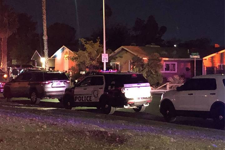 Las Vegas police respond to a shooting in the 2100 block of La Sombra Street on Friday, Nov. 15 ...