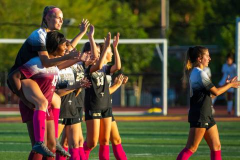 Members of the Faith Lutheran girls soccer team, shown Monday, Oct. 7, 2019, in Las Vegas. (L.E ...