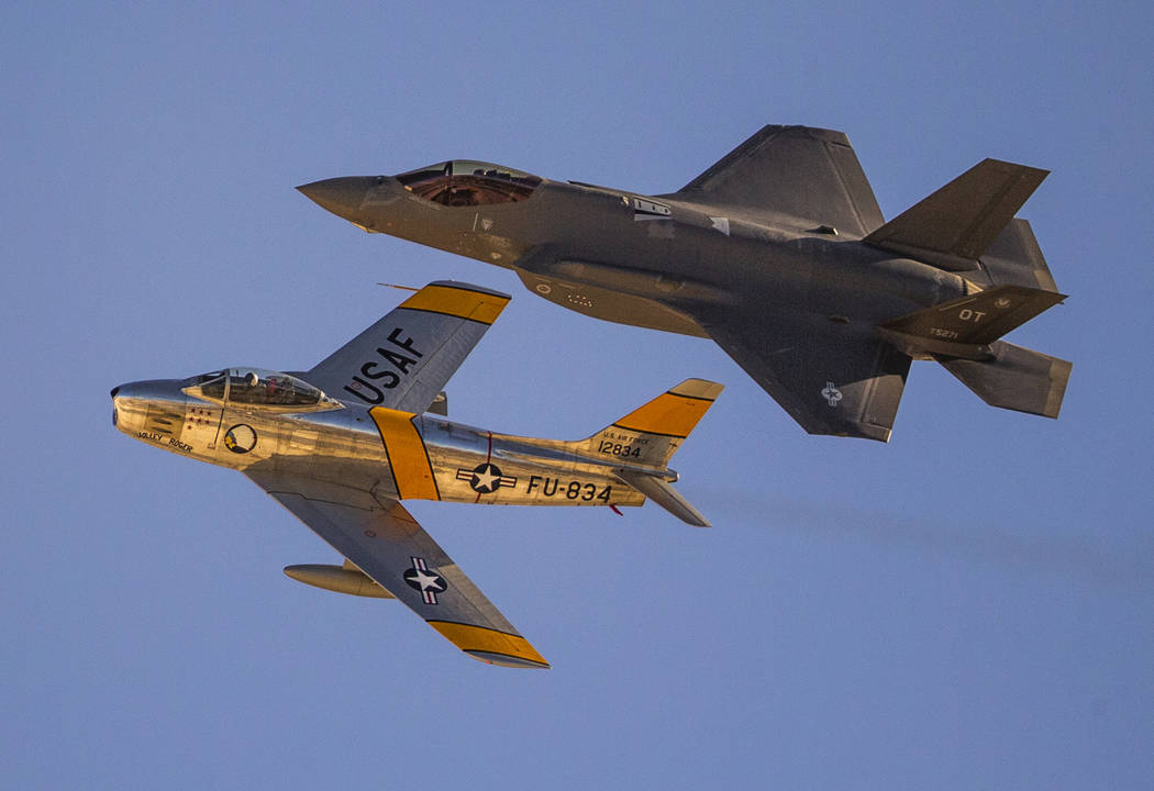 An F-86 Sabre, left, is paired with an F-35 Lightning II showing the advances in fighter aircra ...