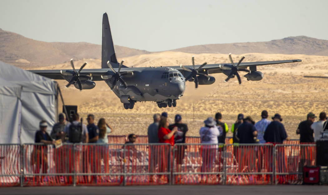 A C-130 Hercules makes its final approach to land during the Aviation Nation at Nellis Air Forc ...