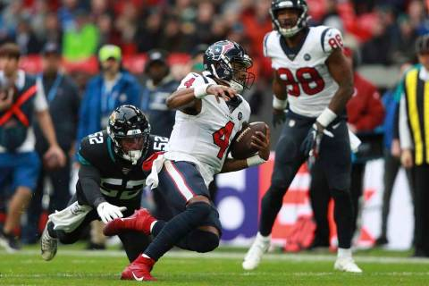 Houston Texans quarterback Deshaun Watson (4) runs down field against the Jacksonville Jaguars ...