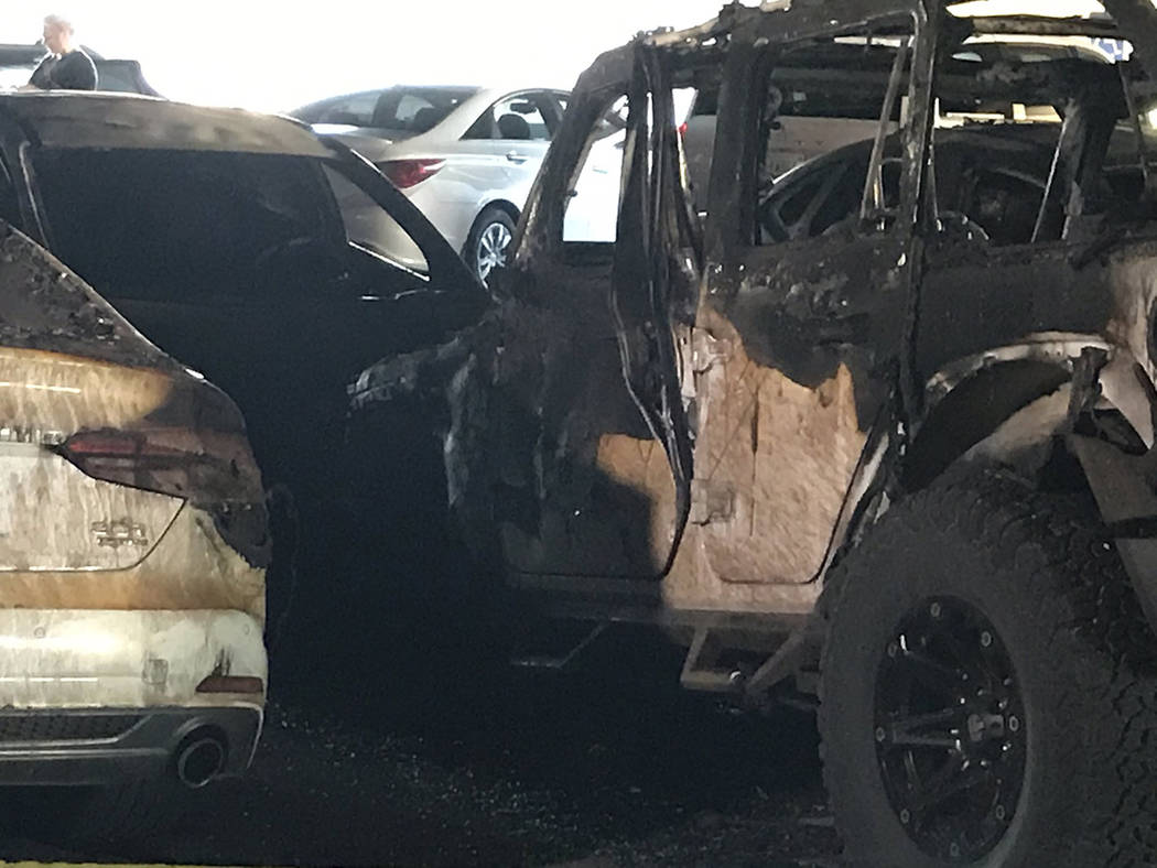 The aftermath of a car fire at McCarran International Airport Terminal 3 parking garage. (Julie ...