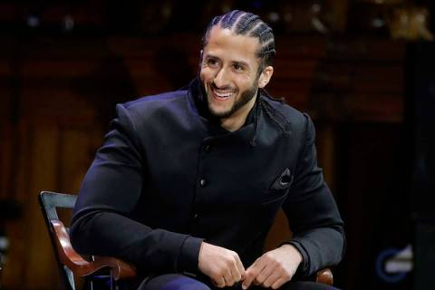 In this Oct. 11, 2018, file photo, former NFL football quarterback Colin Kaepernick smiles on s ...