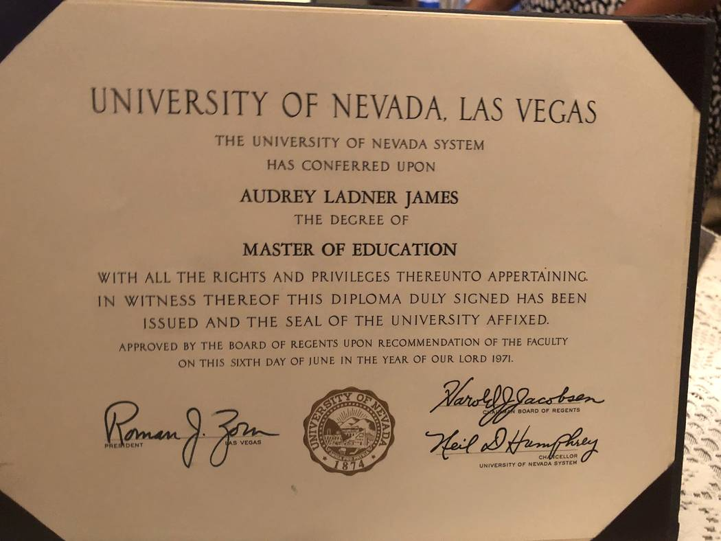 Audrey James' UNLV master's degree from 1971 is shown. (Courtesy)