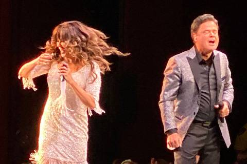Donny and Marie Osmond are shown at the finale of their 11-year residency at Flamingo Las Vegas ...