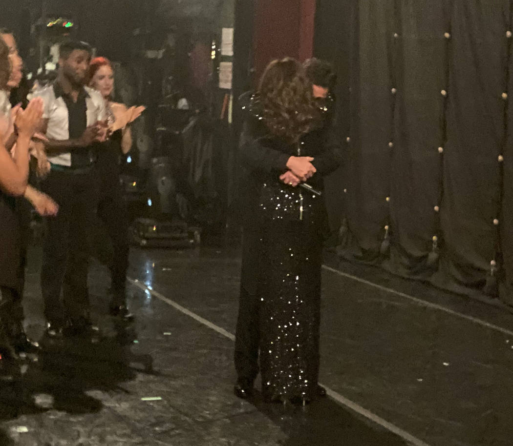 Donny and Marie Osmond hug backstage during the finale of their 11-year residency at Flamingo L ...