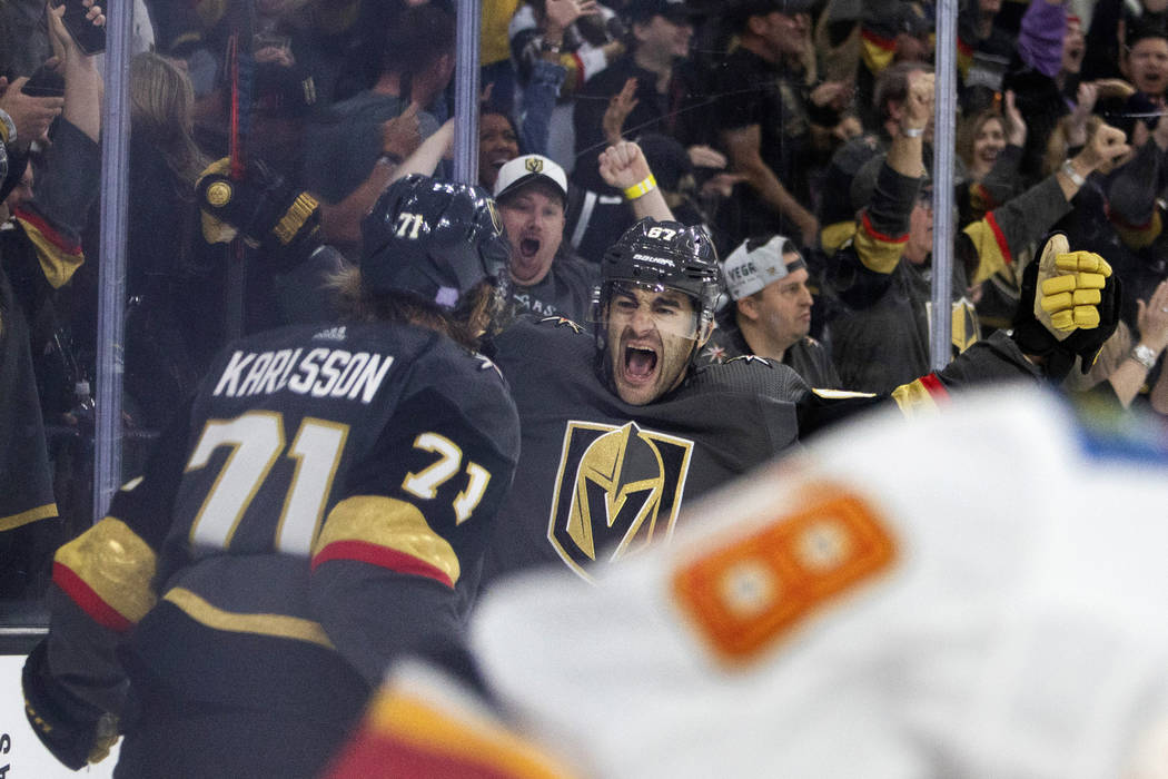 Golden Knights left wing Max Pacioretty (67) celebrates after scoring the third goal of the gam ...
