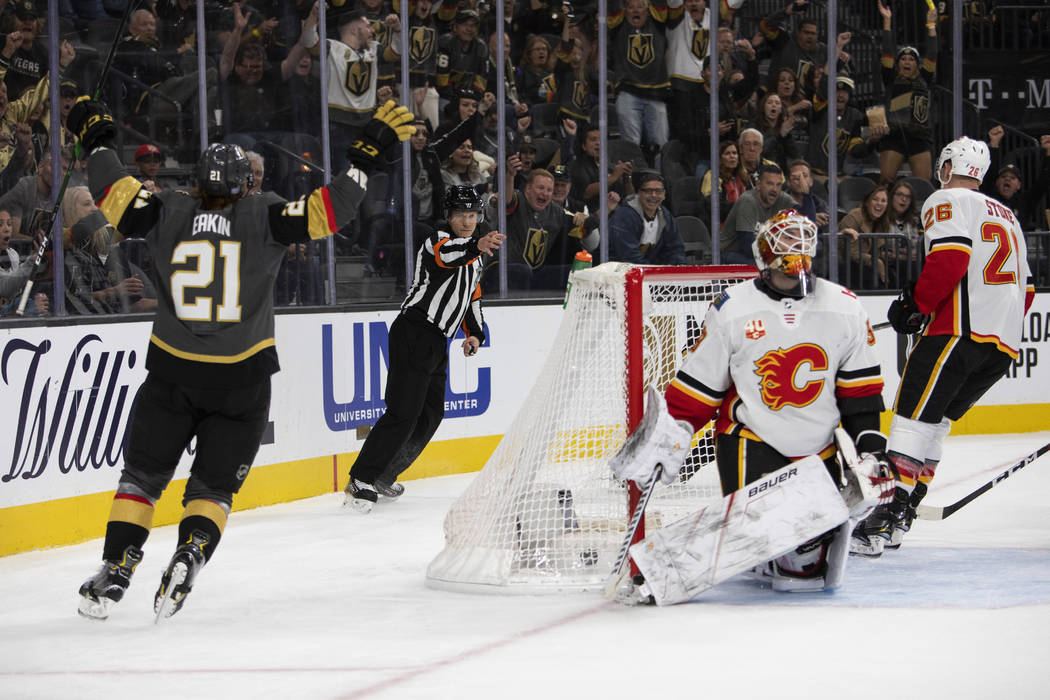 Golden Knights center Cody Eakin (21) cheers after scoring a goal during the third period of th ...