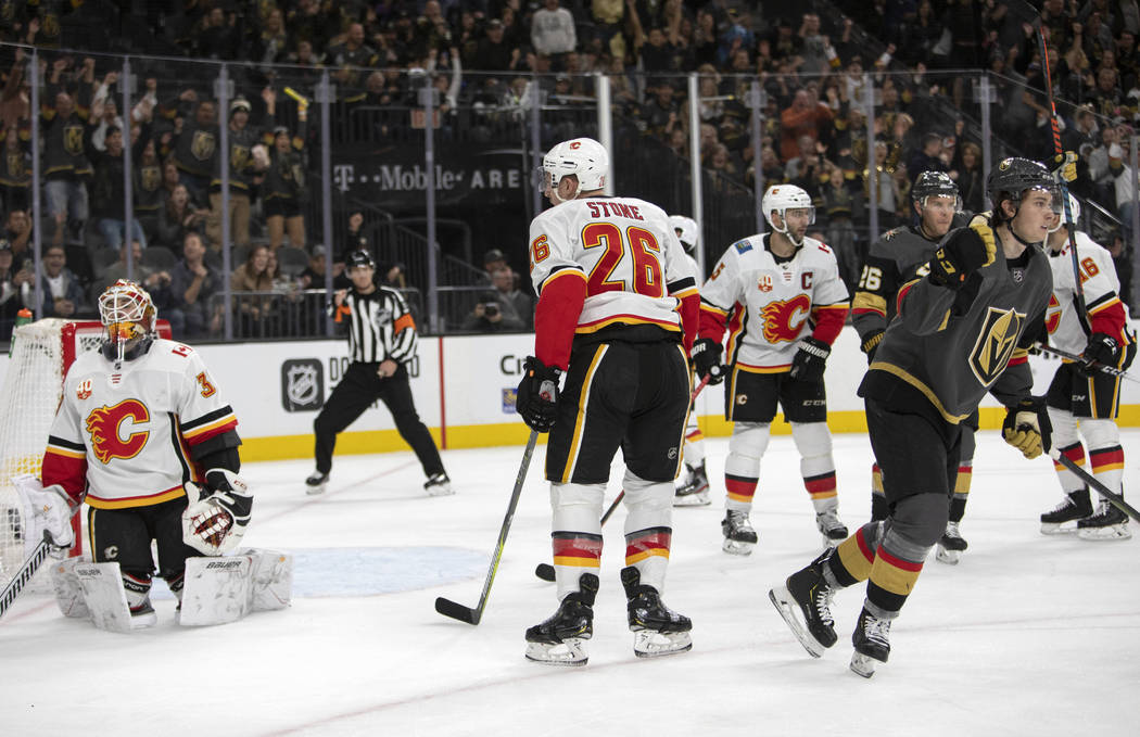 Golden Knights center Cody Glass (9) celebrates after scoring during the third period of their ...