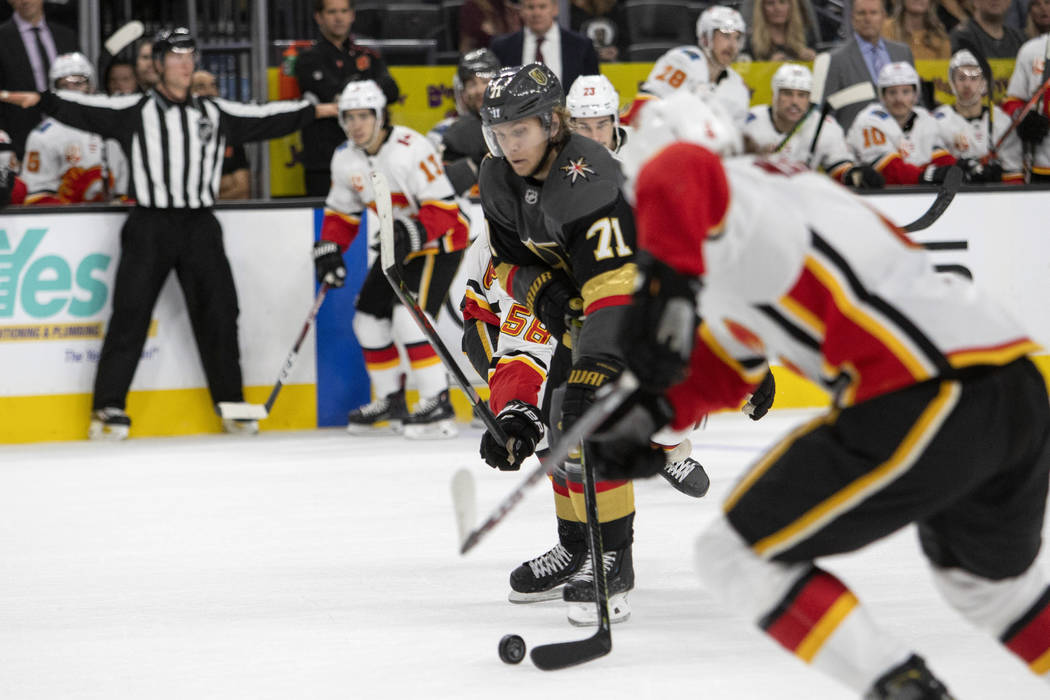 Golden Knights center William Karlsson (71) skates toward the goal before scoring the final goa ...