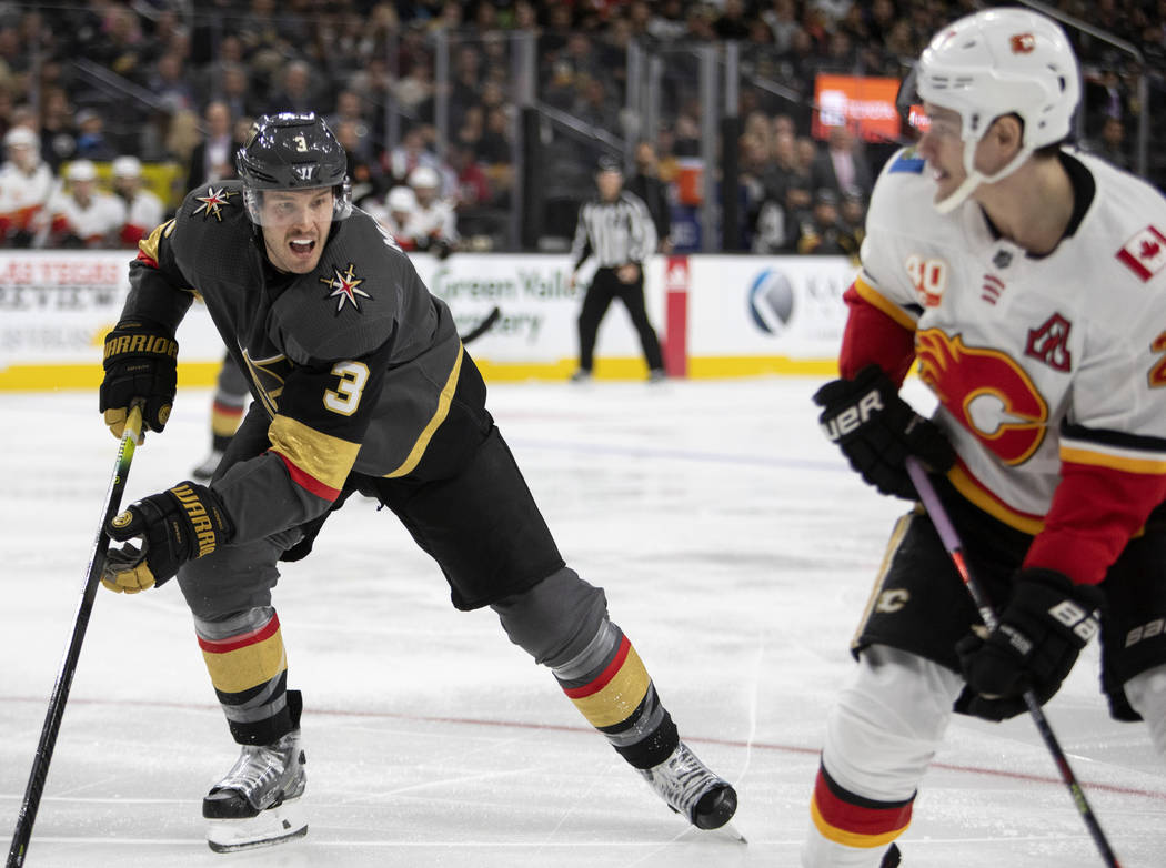 Golden Knights defenseman Brayden McNabb (3) skates toward the puck during the game against the ...