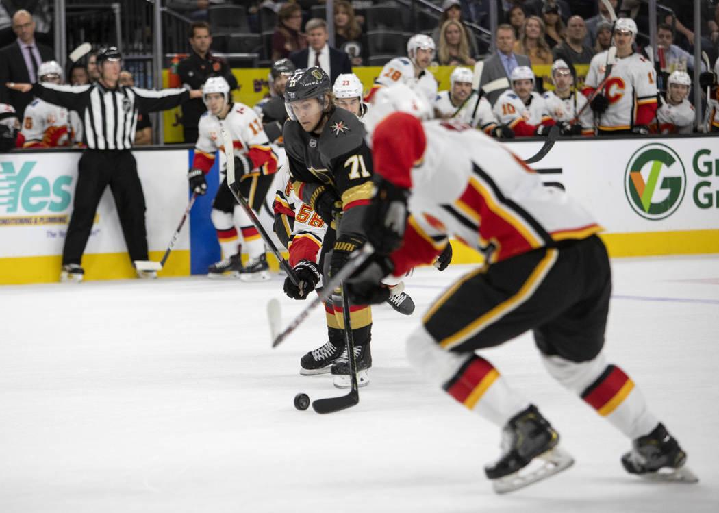 Golden Knights center William Karlsson (71) skates toward the goal before scoring the final goa ...