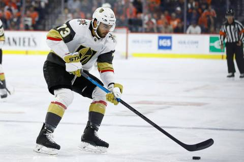 Vegas Golden Knights' Brandon Pirri in action during an NHL hockey game against the Philadelphi ...
