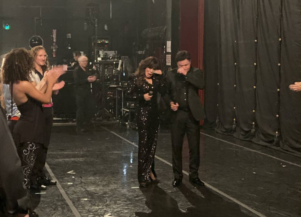 Donny & Marie Osmond wipe away tears after their final performance at Flamingo Las Vegas on Nov ...
