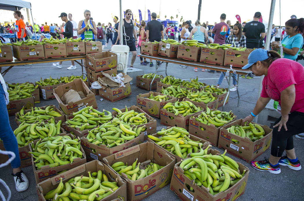 Plenty of bananas are available for participants before running the Las Vegas Rock-N-Roll Marat ...