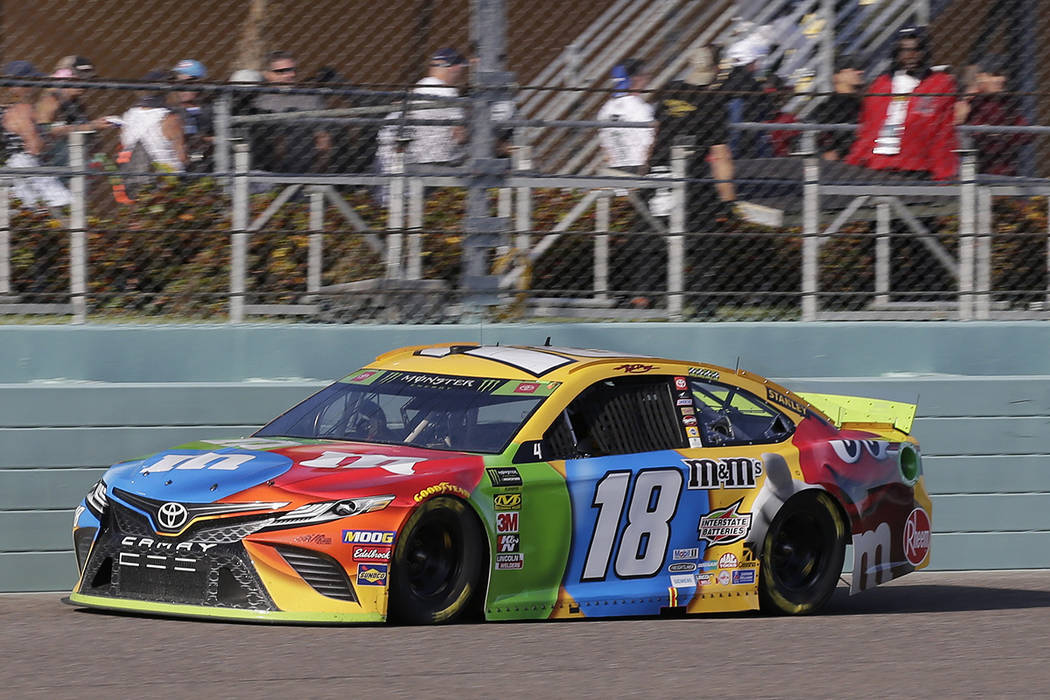 Kyle Busch drives on the front stretch during a NASCAR Cup Series auto race on Sunday, Nov. 17, ...