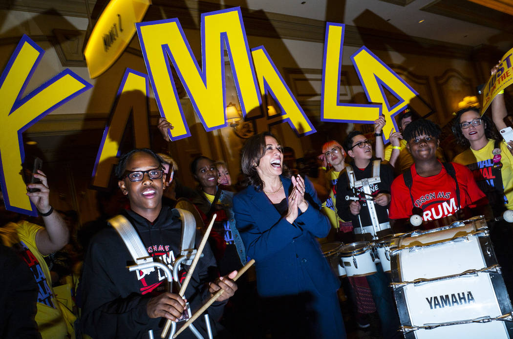 U.S. Sen. Kamala Harris, D-Calif., is welcomed by the Gibson Middle School drumline before the ...