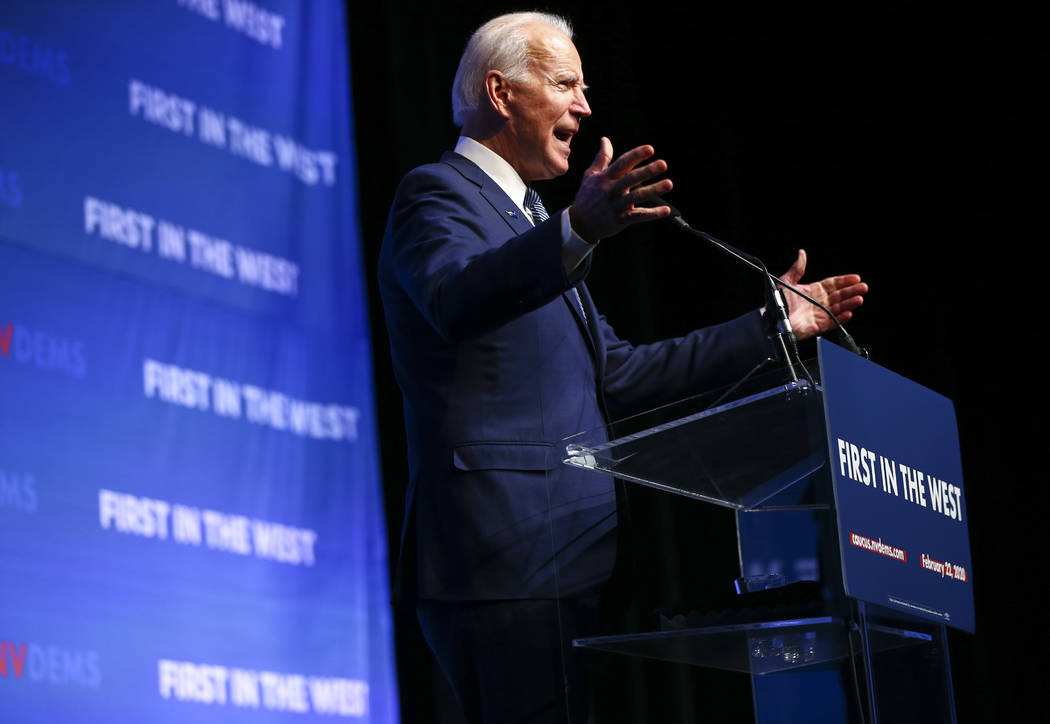 Democratic presidential candidate and former Vice President Joe Biden speaks during the Nevada ...