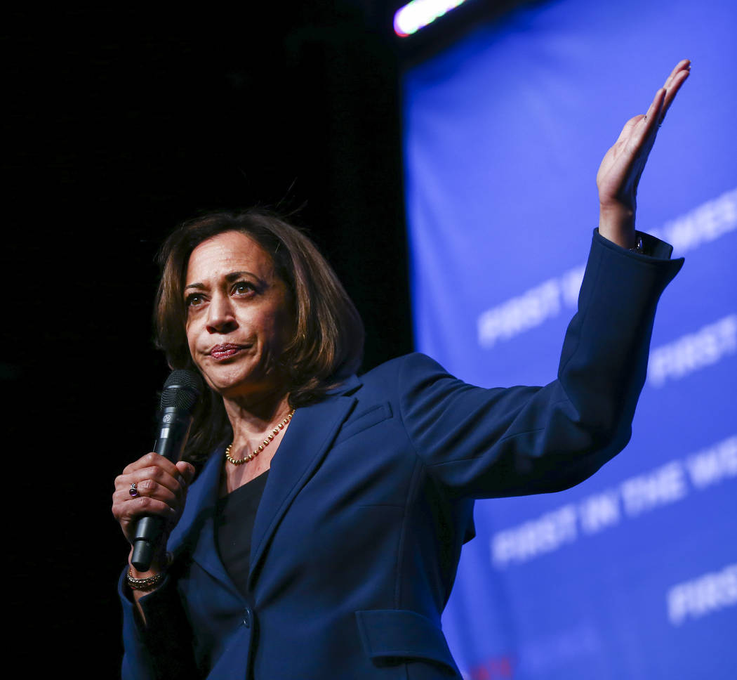 Democratic presidential candidate Sen. Kamala Harris, D-Calif., speaks during the Nevada State ...