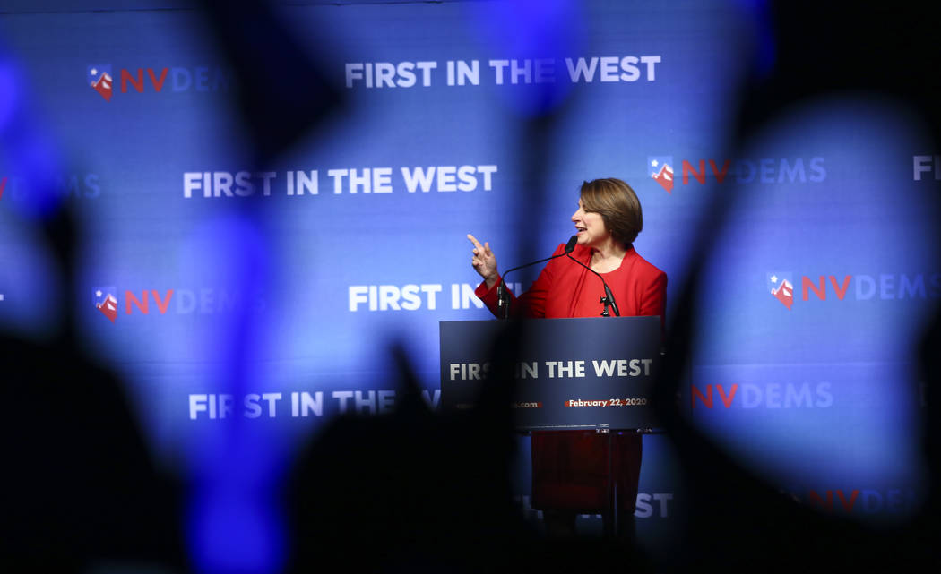 "U.S. Sen. Amy Klobuchar, D-Minn., speaks during the Nevada State Democratic Party's ""First in t ..."