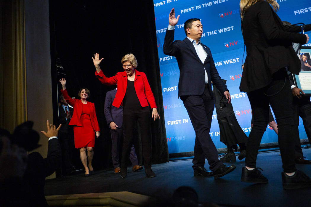 Democratic presidential candidates, from left, Sen. Amy Klobuchar, D-Minn., Sen. Elizabeth Warr ...