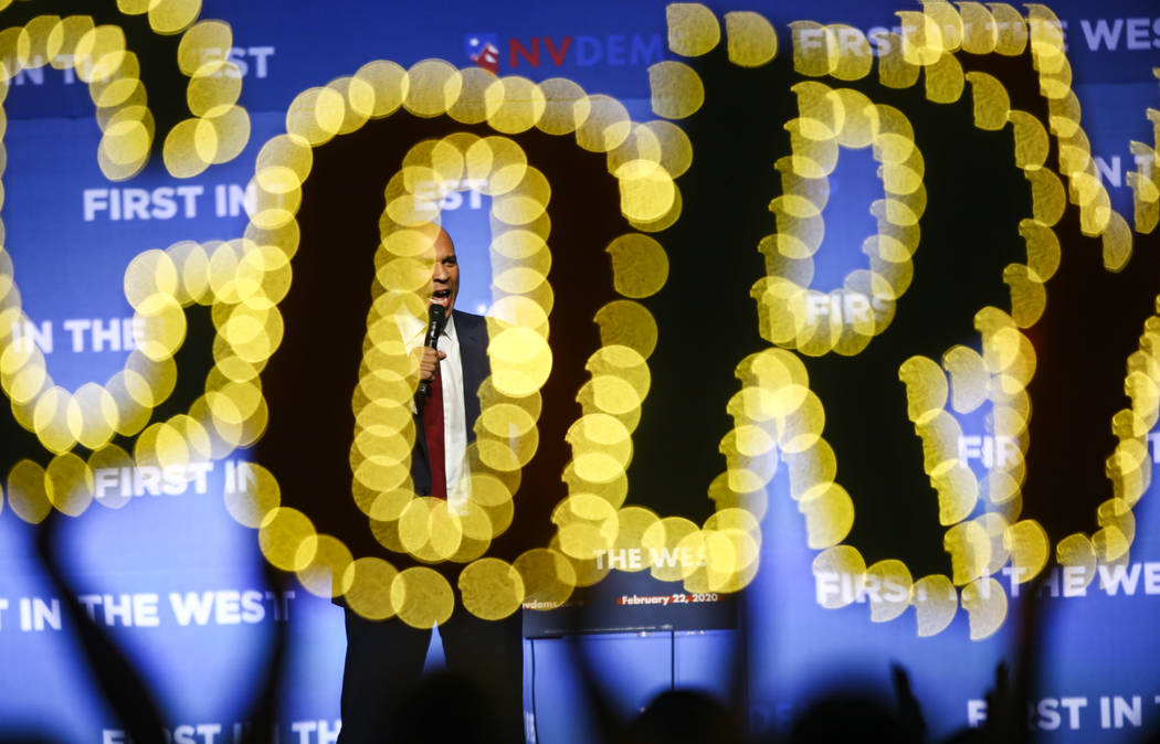 Democratic presidential candidate Sen. Cory Booker, D-N.J., speaks during the Nevada State Demo ...