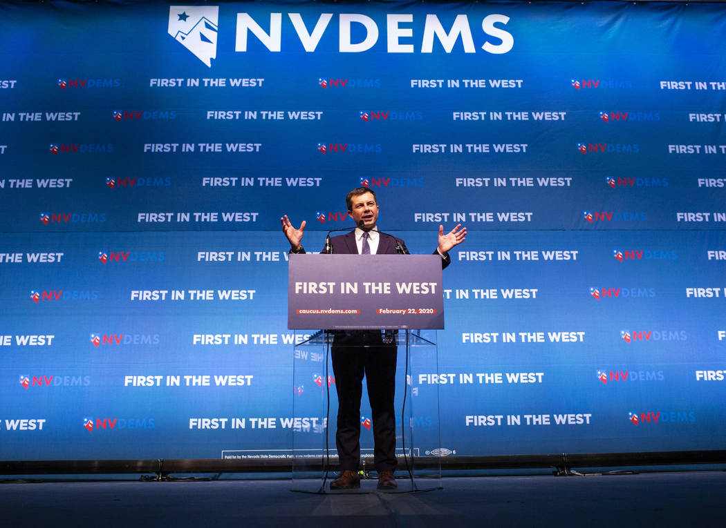 Democratic presidential candidate Mayor Pete Buttigieg, of South Bend, Ind., speaks during the ...