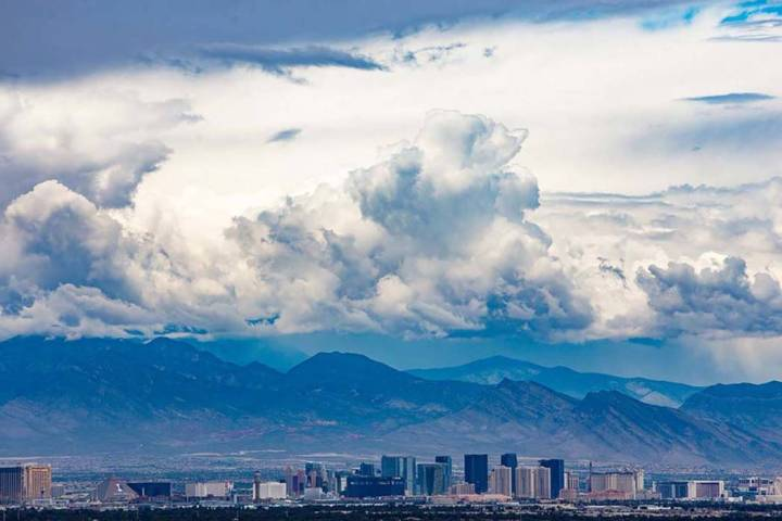 A view from Henderson of the Las Vegas Strip. Monday will be sunny and warm but rain is expecte ...