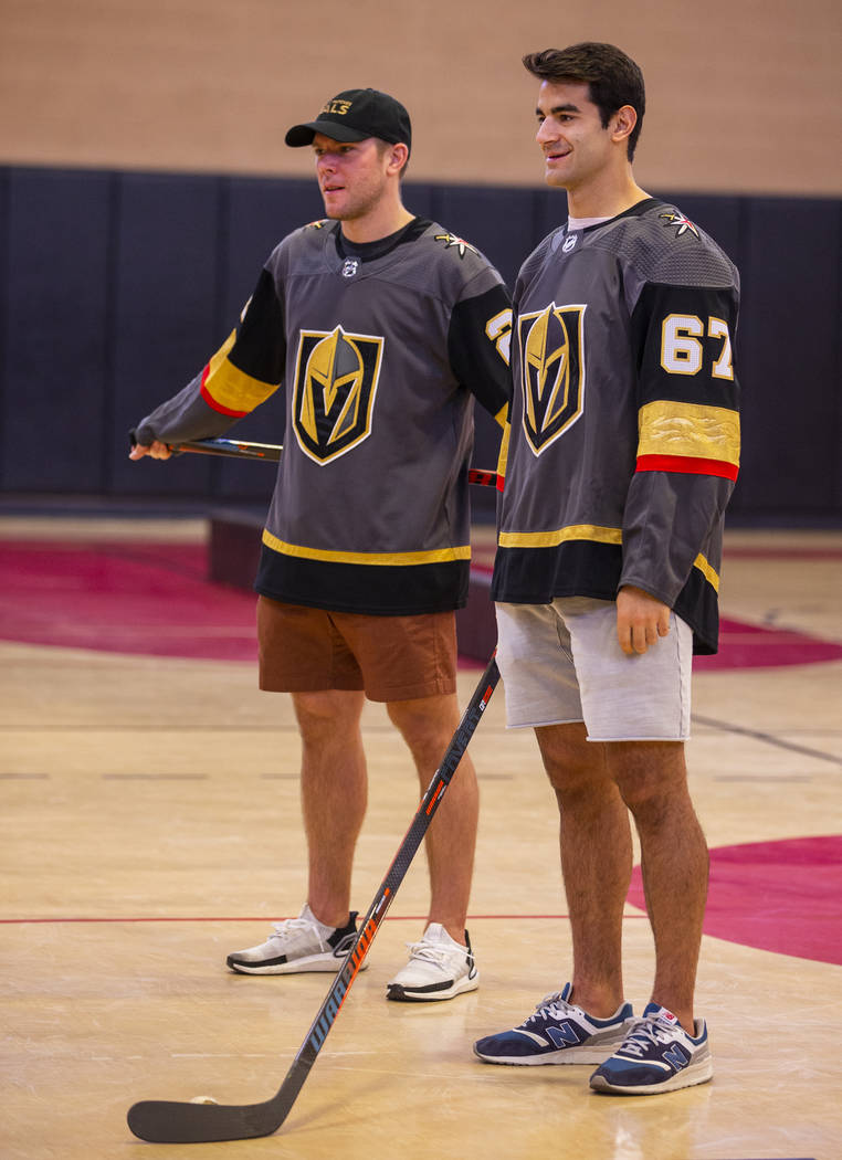 Vegas Golden Knights forwards Paul Stastny, left, and Max Pacioretty host a street hockey clini ...
