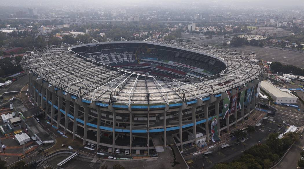An aerial view of the Azteca Stadium in Mexico City, Saturday, Nov. 16, 2019, where the Kansas ...
