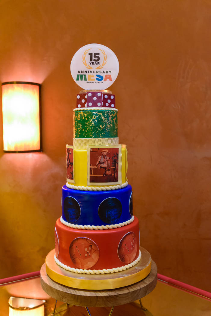 The cake celebrating the 15th anniversary of Mesa Grill, Bobby Flay's restaurant at Caesars Pal ...