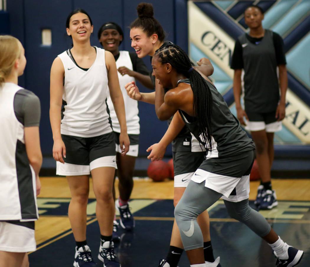 Centennial's varsity girls practice at Centennial high school in Las Vegas, Monday, Nov. 25, 20 ...
