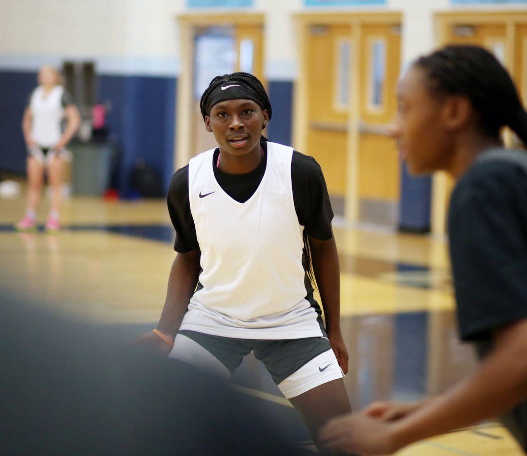 Centennial sophomore Mary McMorris participates in a drill during varsity girls practice at Cen ...