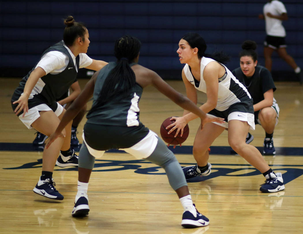 Centennial junior Aaliyah Ibarra dribbles the ball for a drill during varsity girls practice at ...