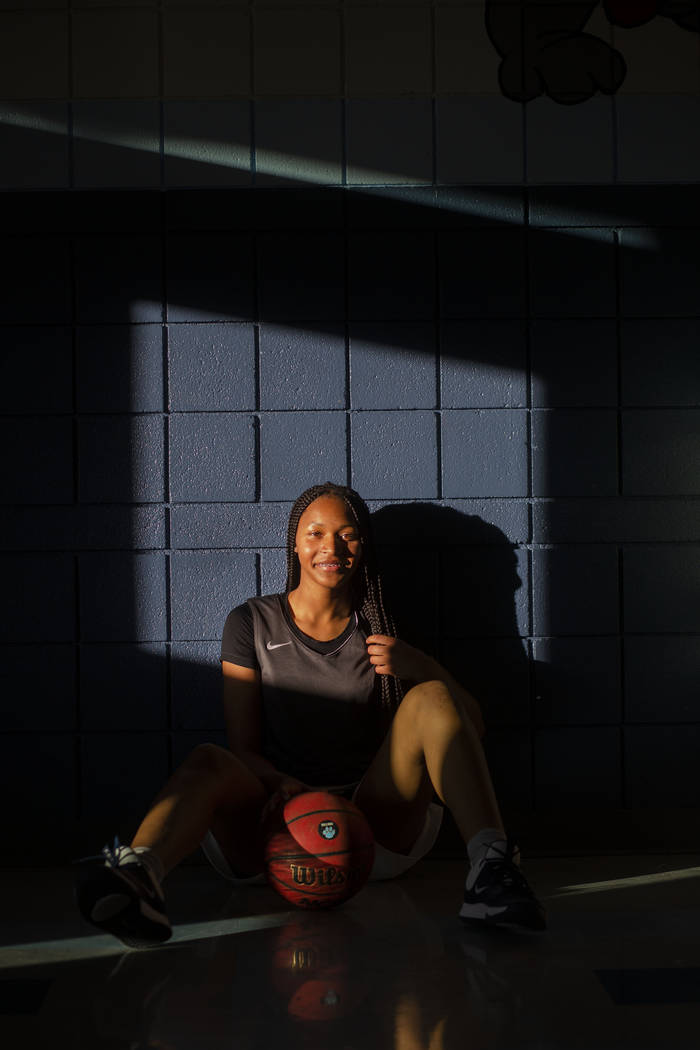 Centennial junior Taylor Bigby poses for a portrait after a varsity girls practice at Centennia ...