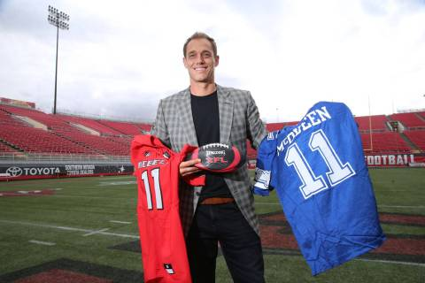 Former UNLV football player Todd Floyd poses at Sam Boyd Stadium in Las Vegas, Thursday, Nov. 2 ...