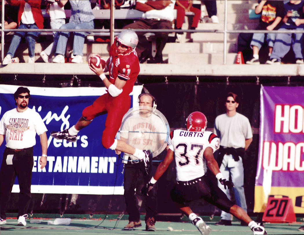 Todd Floyd, shown during his career as a UNLV wide receiver, played football at Sam Boyd Stadiu ...