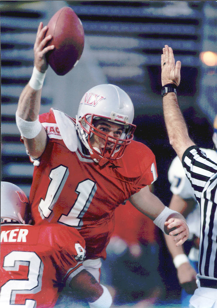 Todd Floyd, shown celebrating a touchdown during his career as a UNLV wide receiver, played foo ...