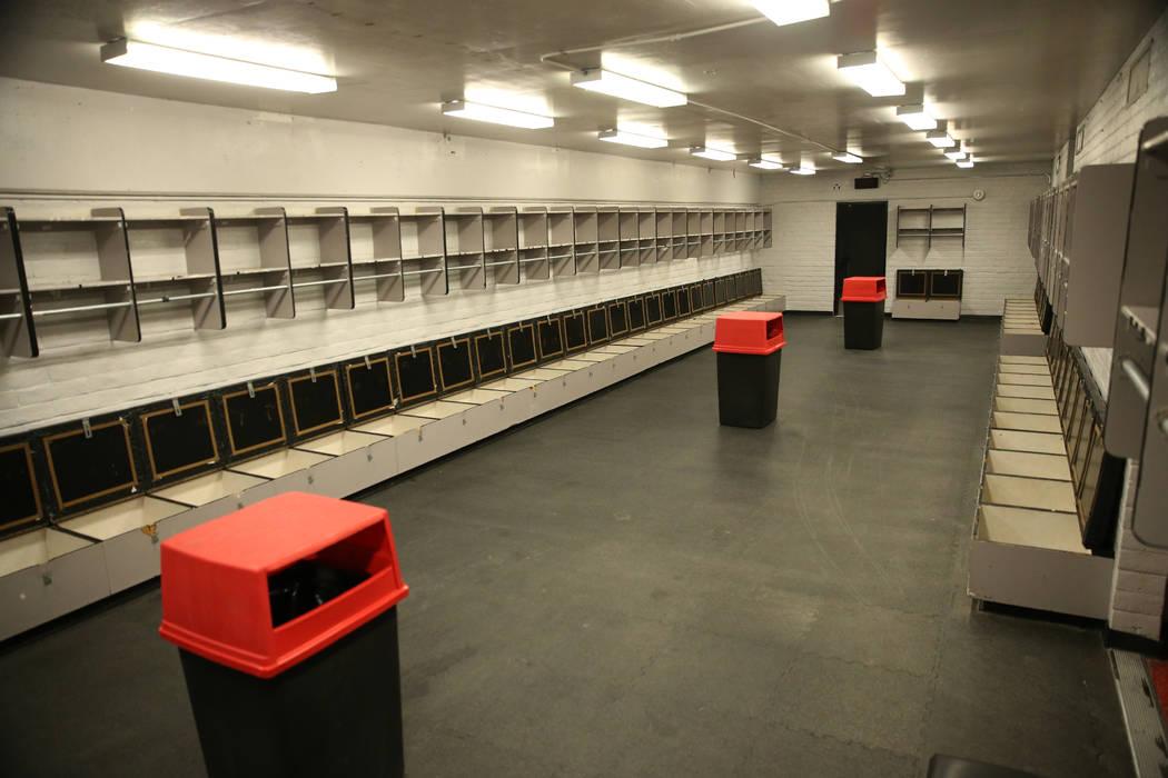 A player locker room at Sam Boyd Stadium in Las Vegas, Thursday, Nov. 21, 2019. (Erik Verduzco/ ...