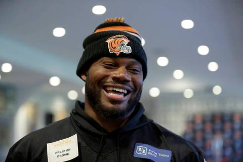 Cincinnati Bengals' linebacker Preston Brown speaks to journalists after an NFL practice sessio ...