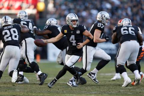 Oakland Raiders quarterback Derek Carr (4) during the second half of an NFL football game again ...