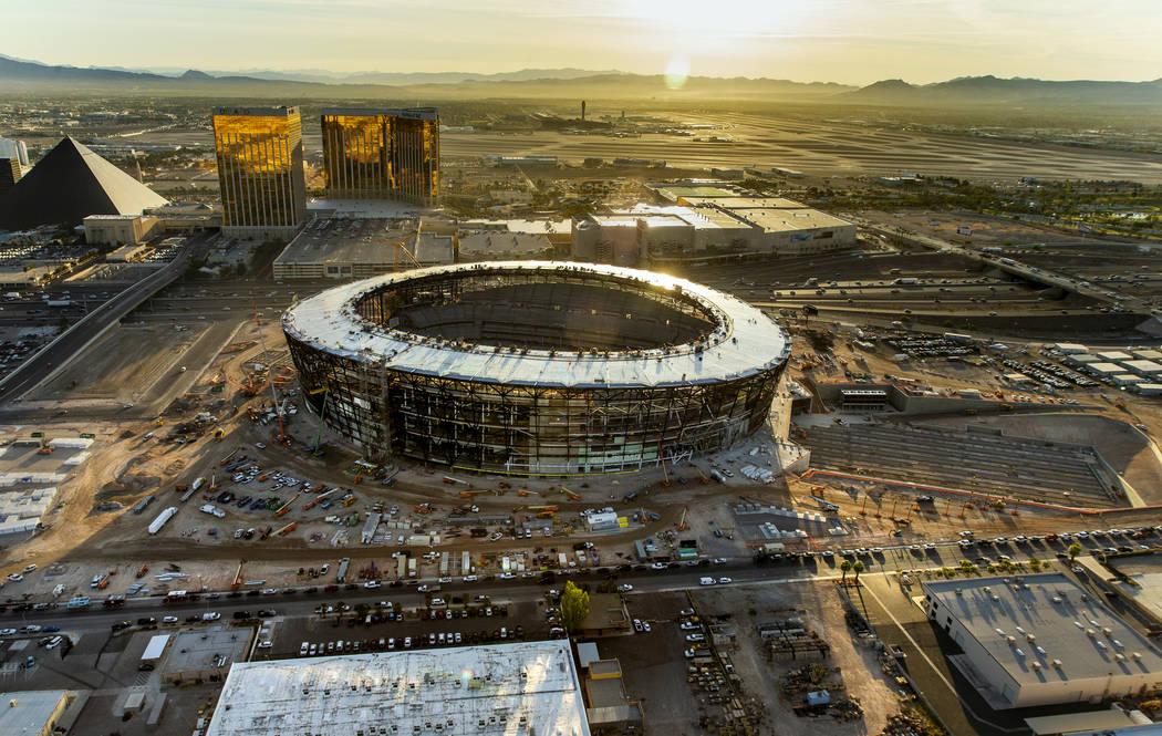 The Allegiant Stadium construction site is seen Wednesday, Oct. 16, 2019, in Las Vegas. (L.E. B ...