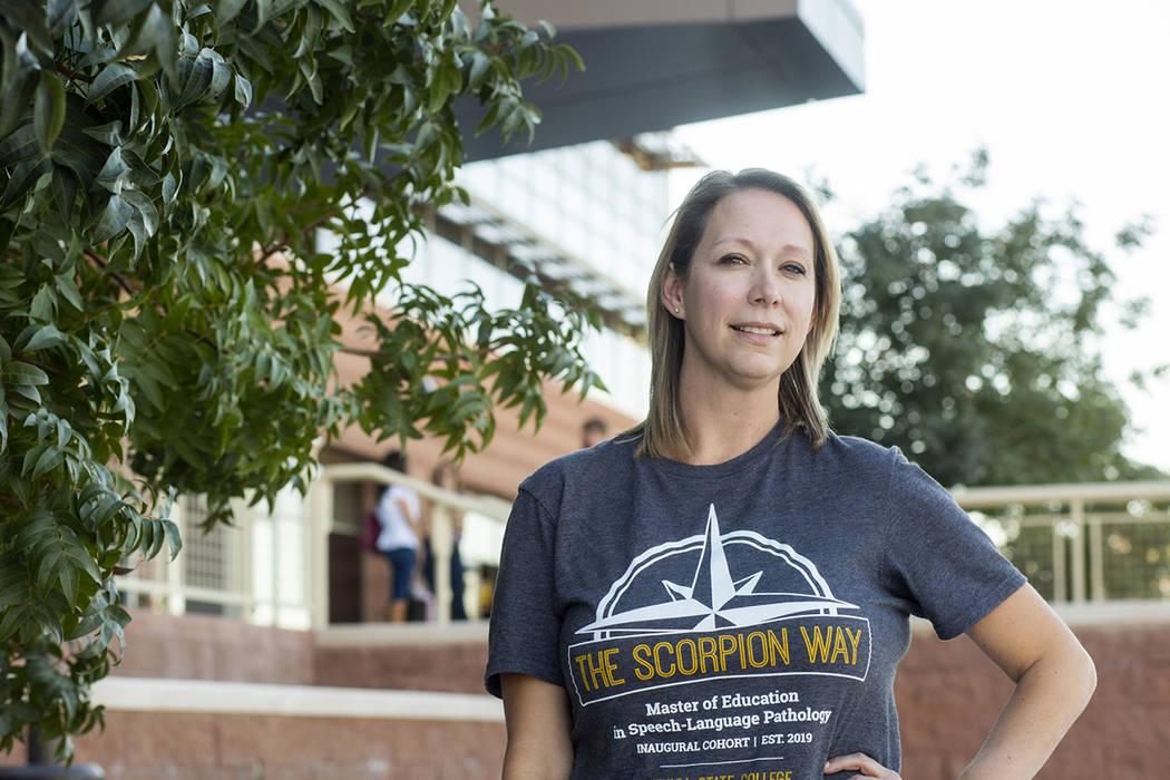 Michelle Burton, first year master's student at Nevada State College in Henderson on Monday, No ...