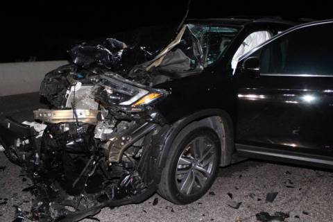 A woman was killed in a two-car collision that shut down U.S. 95 for hours near Beatty on Monda ...