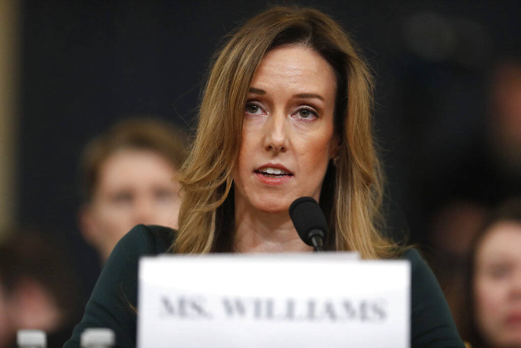 Jennifer Williams, an aide to Vice President Mike Pence testifes before the House Intelligence ...